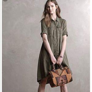 Anthropologie Military swing shirtdress 10 green